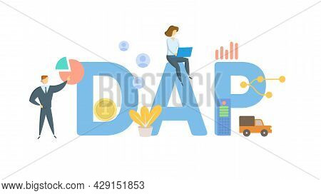 Dap, Delivered At Place. Concept With Keywords, People And Icons. Flat Vector Illustration. Isolated