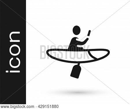 Black Kayak And Paddle Icon Isolated On White Background. Kayak And Canoe For Fishing And Tourism. O