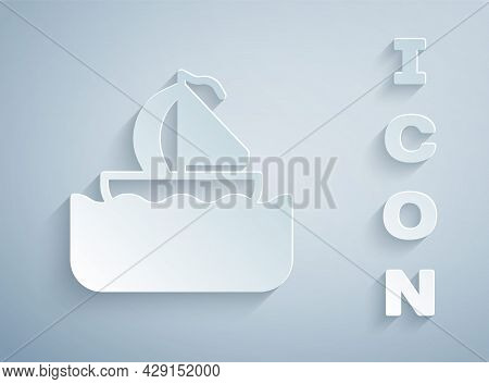 Paper Cut Yacht Sailboat Or Sailing Ship Icon Isolated On Grey Background. Sail Boat Marine Cruise T