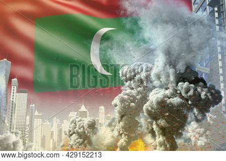 Big Smoke Column With Fire In Abstract City - Concept Of Industrial Accident Or Act Of Terror On Mal