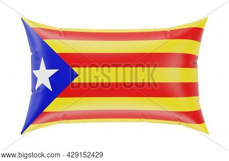 Pillow With Catalan Flag, 3d Rendering Isolated On White Background
