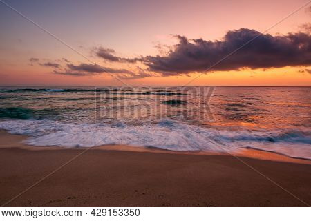 Calm Sea Scenery At Dawn. Waves Wash Empty Sandy Beach At Twilight. Relax And Summer Vacation Concep