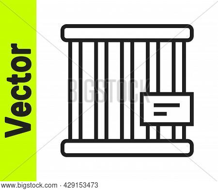 Black Line Animal Cage Icon Isolated On White Background. Vector