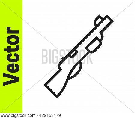 Black Line Hunting Gun Icon Isolated On White Background. Hunting Shotgun. Vector
