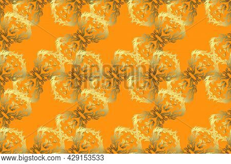 Retro Rich Design For Wallpapers, Fabric, Textile. Raster Brown, Yellow Leafy Background With Hand D
