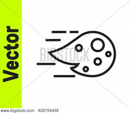Black Line Fireball Icon Isolated On White Background. Vector