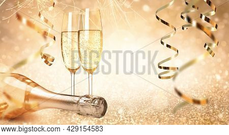 Glasses And Bottle Of Sparkling Wine On Bright Festive Background, Banner Design