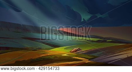 Dark Colored Painted Landscape With Fields And A House In The Moonlight