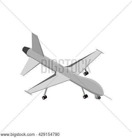 Military Air Forces Isometric Icon With Z51 Predator Drone 3d Vector Illustration