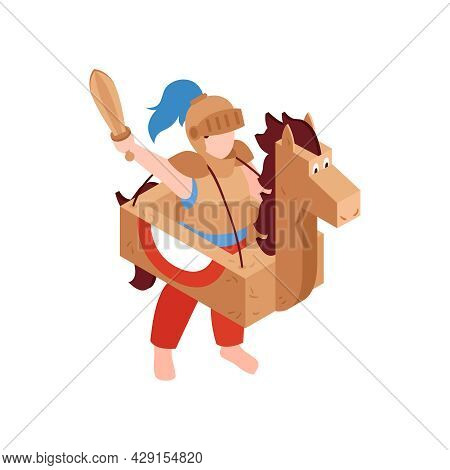 Isometric Icon With Boy Wearing Cardboard Costume Of Knight With Sword And Horse 3d Vector Illustrat
