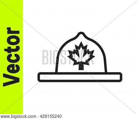 Black Line Canadian Ranger Hat Uniform Icon Isolated On White Background. Vector