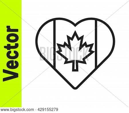 Black Line Heart Shaped Canada Flag Icon Isolated On White Background. Love Canada Symbol. Vector