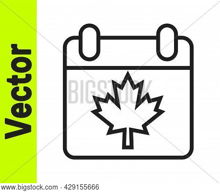 Black Line Canada Day With Maple Leaf Icon Isolated On White Background. 1-th Of July Independence D