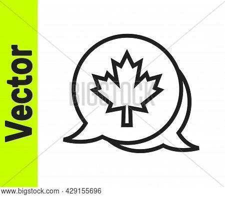 Black Line Canadian Maple Leaf Icon Isolated On White Background. Canada Symbol Maple Leaf. Vector