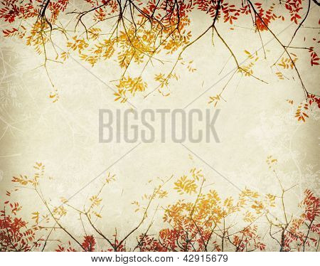 red leaves tree with old grunge antique paper texture