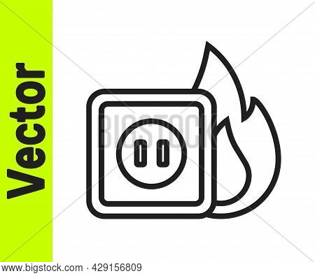 Black Line Electric Wiring Of Socket In Fire Icon Isolated On White Background. Electrical Safety Co