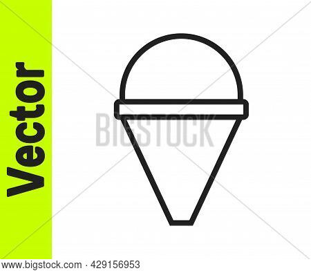 Black Line Fire Cone Bucket Icon Isolated On White Background. Metal Cone Bucket Empty Or With Water