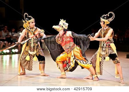 YOGYAKARTA,INDONESIA-DEC 31:  Ramayana ballet performs at Prambanan temple on Dec 31, 2011 in Yogyakarta, Indonesia. It is based on epic Hindu poem and represents Javanese style,culture and music.