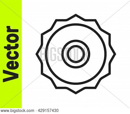 Black Line Circular Saw Blade Icon Isolated On White Background. Saw Wheel. Vector