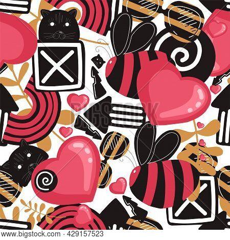Seamless Youth Pattern. Graffiti Style. Modern Trendy Background. Pink Graffiti. Street Style.