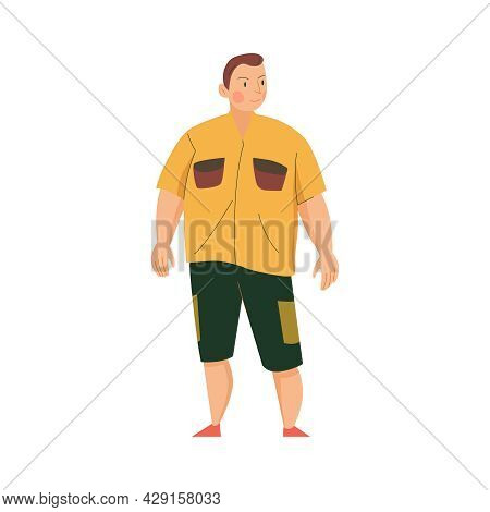 Flat Plump Man In Tshirt And Shorts Vector Illustration