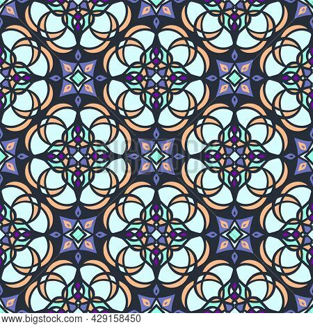 Ornament In Oriental Style, With A Geometric Pattern In Blue-blue Color.vector Illustration