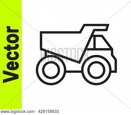 Black Line Mining Dump Truck Icon Isolated On White Background. Vector