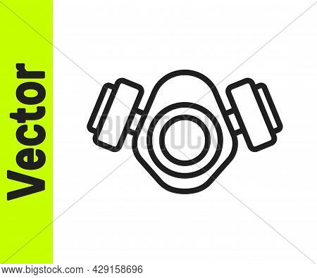 Black Line Gas Mask Icon Isolated On White Background. Respirator Sign. Vector