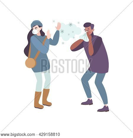 Face Mask Protection Icon With Infected With Coronavirus Man Sneezing Near Woman In Respirator Flat