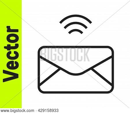 Black Line Mail And E-mail Icon Isolated On White Background. Envelope Symbol E-mail. Email Message