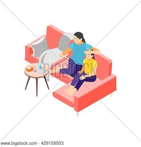 Flu Isometric Icon With Mum Measuring Girls Temperature 3d Vector Illustration