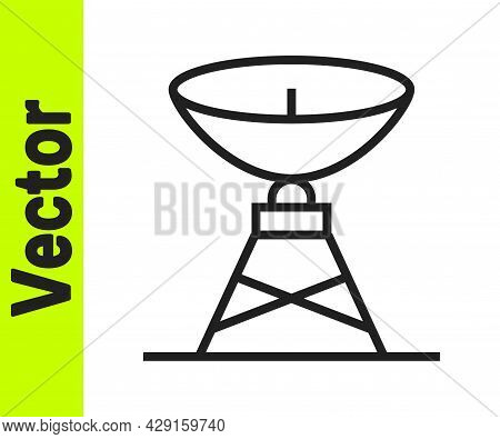Black Line Satellite Dish Icon Isolated On White Background. Radio Antenna, Astronomy And Space Rese