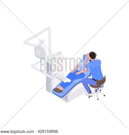 Stomatology Clinic Icon With Patient Dentist And Equipment 3d Isometric Vector Illustration
