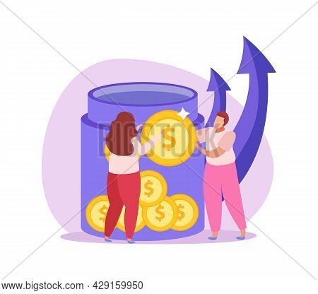 Crowdfunding Icon With Flat Characters Of People Collecting Coins Vector Illustration