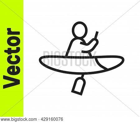 Black Line Kayak And Paddle Icon Isolated On White Background. Kayak And Canoe For Fishing And Touri