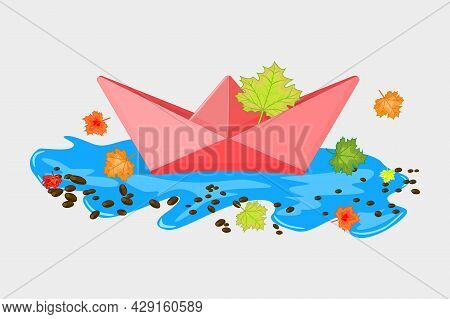 Paper Boat With Maple Leaves In A Puddle Isolated On White Background. Autumn Concept. Paper Vessel