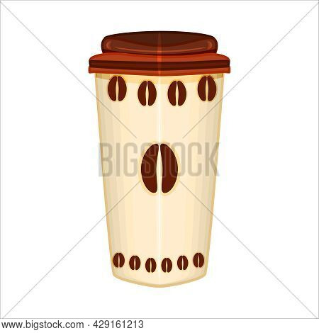 Coffee Cup Isolated On White Background. Plastic Cup With Hot Coffee. Takeaway Coffee Paper Cup Icon