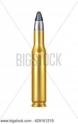 Realistic Heavy Caliber Bullet Cartridge Vector Illustration