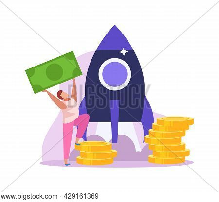 Crowdfunding Flat Colored Icon With Rocket Coins And Man Holding Banknote Vector Illustration