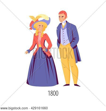 Male And Female Character Wearing Clothes In Nineteenth Century Fashion Flat Isolated Vector Illustr