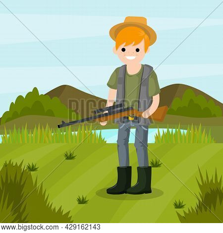 Man Hunter With A Gun. Survival In The Woods. Equipment For Hunting Animals. Green Forest, Trees, La