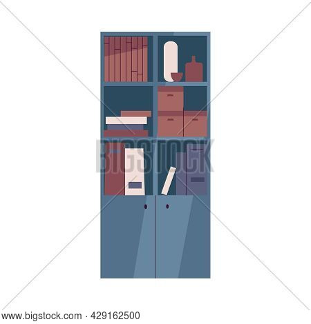 Classroom Furniture Icon With Flat Bookcase With Folders On Shelves Vector Illustration