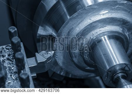 The Lathe Machine Operation By Rough Cutting Brass Material Parts By Cutting Tools. The Metalworking