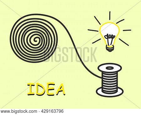 Tangled Thread Is Wound Around Spool. Simple Drawing Of Spool Of Thread And Light Bulb Showing How T
