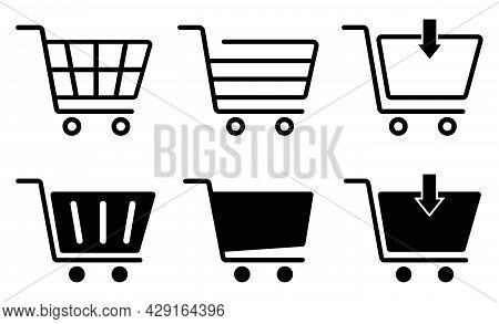 Shopping Cart Icons Set, Supermarket Trolley Symbol For E-commerce, Simple Flat Outline And Silhouet
