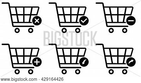 Shopping Cart Icons Set, Supermarket Trolley Symbol For E-commerce, Simple Flat Outline Design Isola