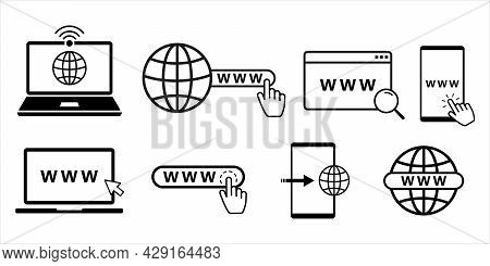 Www Flat Line Icon Set With Computer, Phone, Laptop And Tablet. Internet Browser Search Bar With Glo