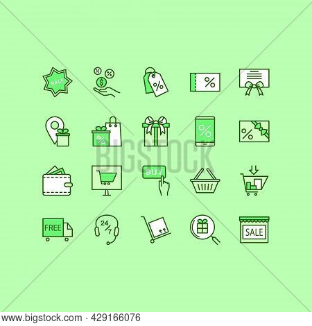 Discount Flat Line Icons Set. Included Icons As Sale, Badge, Coupon, Cash Back, Shopping Cart, Deliv
