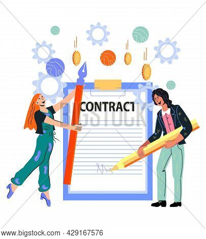 Business People Sign Contract Document. Cooperation And Conclusion Of Business Contracts, Collaborat