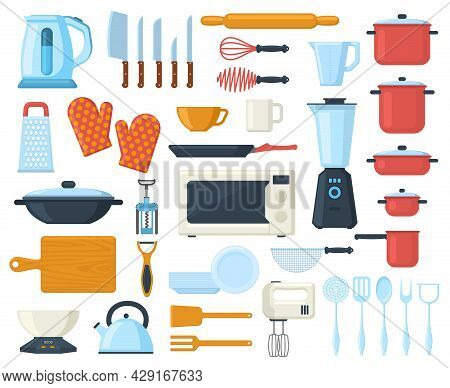 Kitchenware Cooking Culinary Cutlery, Tools, Utensils Elements. Tableware, Kitchen Tools And Dishes